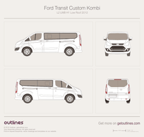 2012 Ford Transit Custom Kombi L2 LWB H1 Low Roof Minivan blueprint