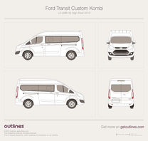 2012 Ford Transit Custom Kombi L2 LWB H2 High Roof Minivan blueprint