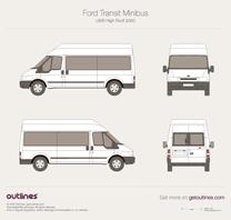2000 Ford Transit Minibus LWB High Roof Wagon blueprint