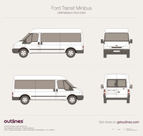 2000 Ford Transit Minibus LWB Medium Roof Wagon blueprint