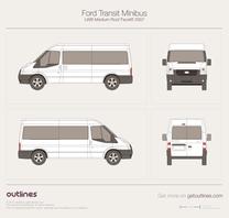 2007 Ford Transit Minibus LWB Medium Roof Facelift Wagon blueprint