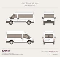 2000 Ford Transit Minibus MWB High Roof Wagon blueprint