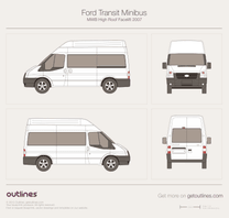 2007 Ford Transit Minibus MWB High Roof Facelift Wagon blueprint