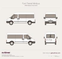 2000 Ford Transit Minibus MWB Medium Roof Wagon blueprint