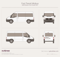 2007 Ford Transit Minibus MWB Medium Roof Facelift Wagon blueprint