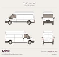 2000 Ford Transit Van LWB High Roof Van blueprint