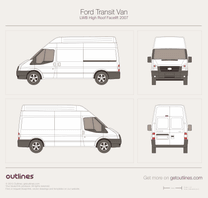 2007 Ford Transit Van LWB High Roof Facelift Van blueprint