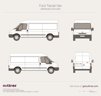 2000 Ford Transit Van LWB Medium Roof Van blueprint