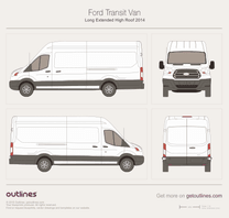 2013 Ford Transit Van Long Extended High Roof Van blueprint