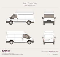 2000 Ford Transit Van MWB High Roof Van blueprint