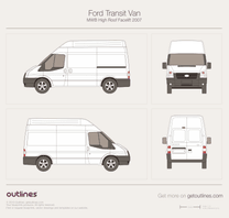 2007 Ford Transit Van MWB High Roof Facelift Van blueprint