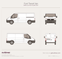 2007 Ford Transit Van MWB Low Roof Facelift Van blueprint