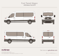 2013 Ford Transit Wagon LWB Medium Roof Wagon blueprint