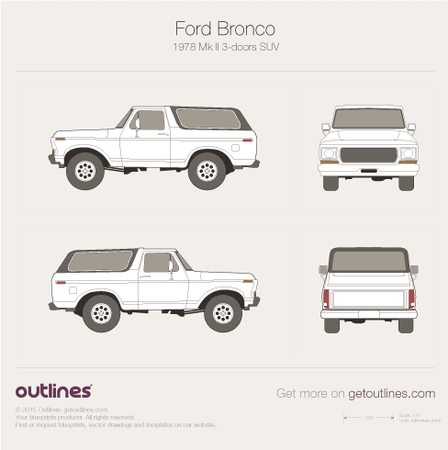 1978 Ford Bronco Mk II SUV blueprints and drawings