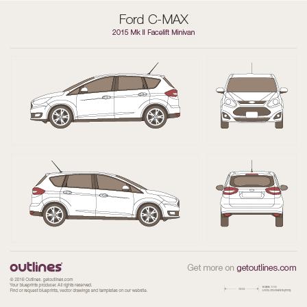 2015 Ford C-Max II Facelift Minivan blueprint