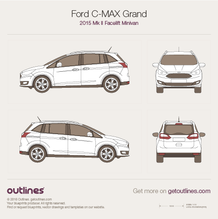 2015 Ford C-Max Grand II Minivan blueprints and drawings