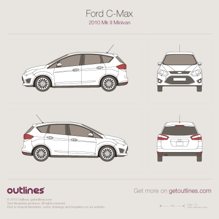 2010 Ford C-Max II Minivan blueprints and drawings