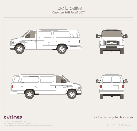 2007 Ford E-350 Cargo LWB Facelift II Van blueprint