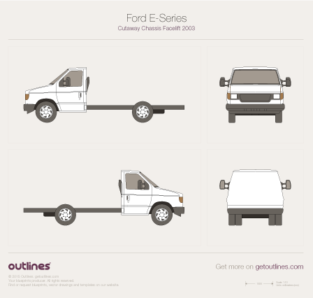 2003 Ford Econoline Cutaway E-350 Stripped Chassis Cab Heavy Truck blueprint