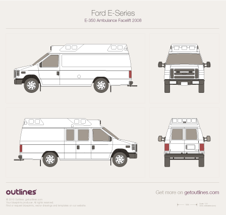 2007 Ford E350 Ambulance Facelift Van blueprint