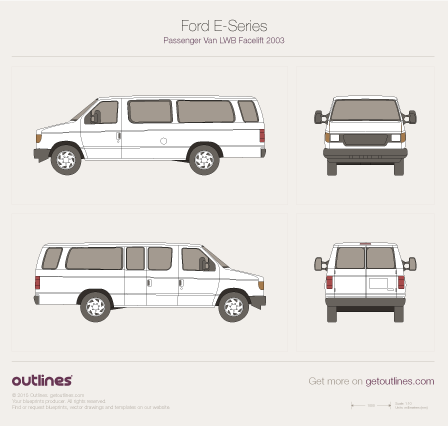 2003 Ford E-250 Passenger LWB Facelift Wagon blueprint