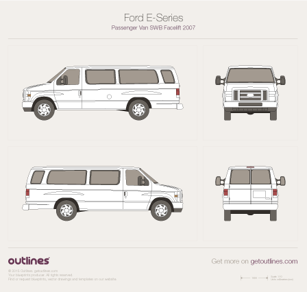 2007 Ford E-Series Passenger LWB Facelift II Wagon blueprint