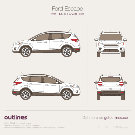 2015 Ford Escape III SUV blueprints and drawings