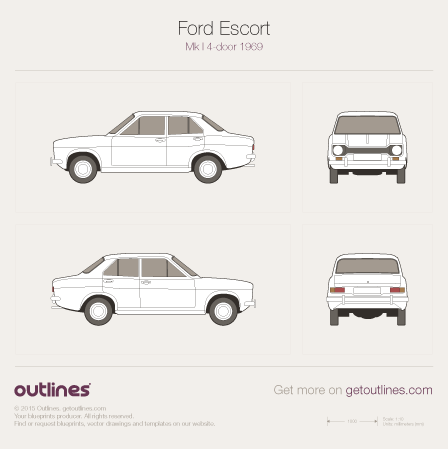 1968 Ford Escort Mk I Sedan blueprints and drawings