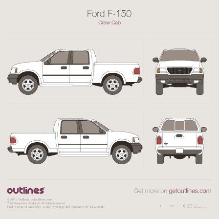 1997 Ford F-150 Mk X Super-Crew Cab Pickup Truck blueprint