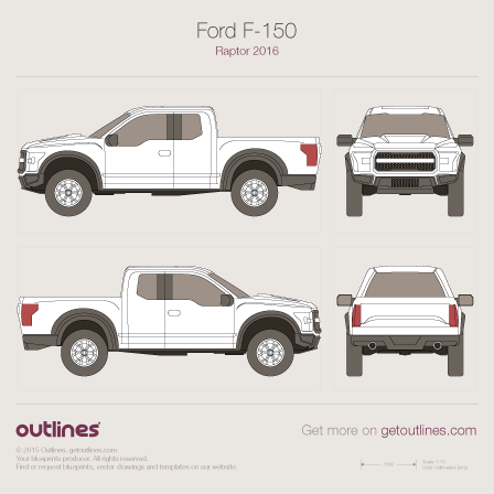 2016 Ford F-150 Raptor Pickup Truck blueprint