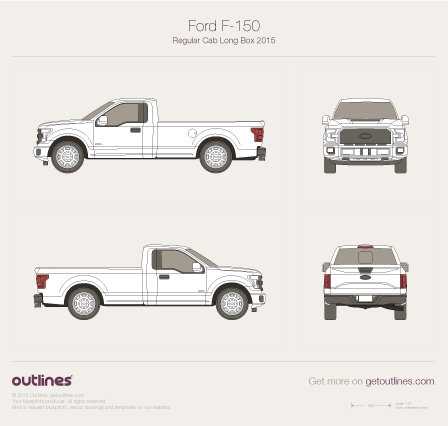 2015 Ford F-150 Regular Cab Long Box Pickup Truck blueprint