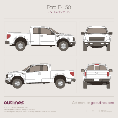 2015 Ford F-150 SVT Raptor Pickup Truck blueprints and drawings