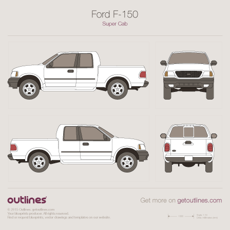 1997 Ford F-150 Mk X Pickup Truck blueprints and drawings