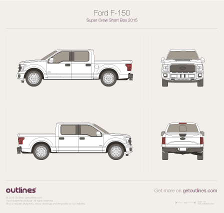 2015 Ford F-150 SuperCrew Short Box Pickup Truck blueprint