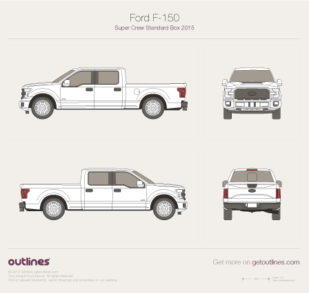 2015 Ford F-150 SuperCrew Standard Box Pickup Truck blueprint