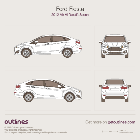 2012 Ford Fiesta Mk VI Sedan blueprints and drawings