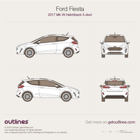2017 Ford Fiesta Mk VII 3-doors Hatchback blueprint