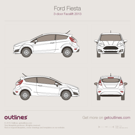 2014 Ford Fiesta Mk VI Hatchback blueprints and drawings
