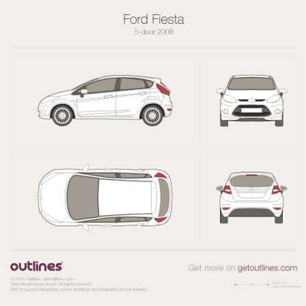 2008 Ford Fiesta Mk VI 5-door Hatchback blueprint