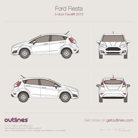 2014 Ford Fiesta Mk VI 5-doors Facelift Hatchback blueprint