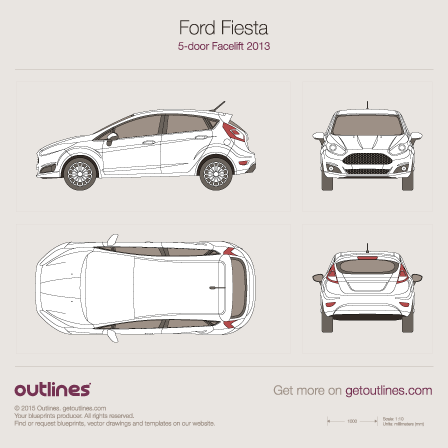2014 Ford Fiesta Mk VI Hatchback blueprints and drawings