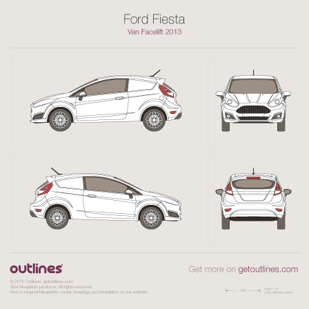 2012 Ford Fiesta Mk VI Van blueprints and drawings