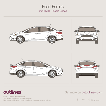 2014 Ford Focus Facelift Sedan blueprint