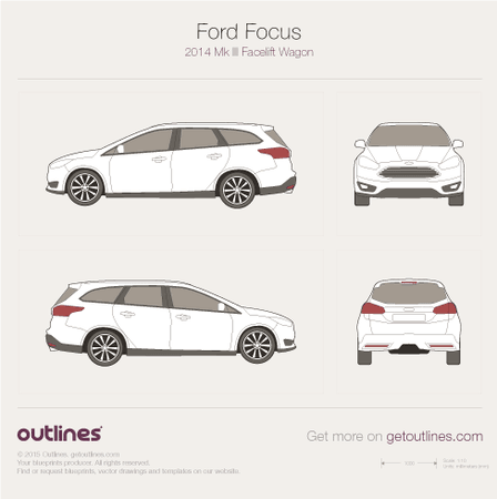 2014 Ford Focus III Facelift Wagon blueprint