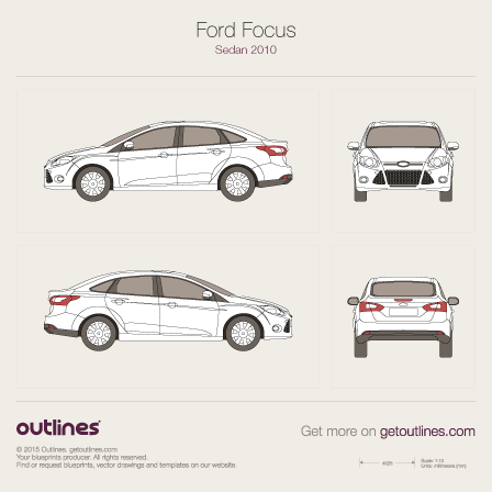 Ford Focus 2013 Sedan >> 2010 Ford Focus drawings - Outlines