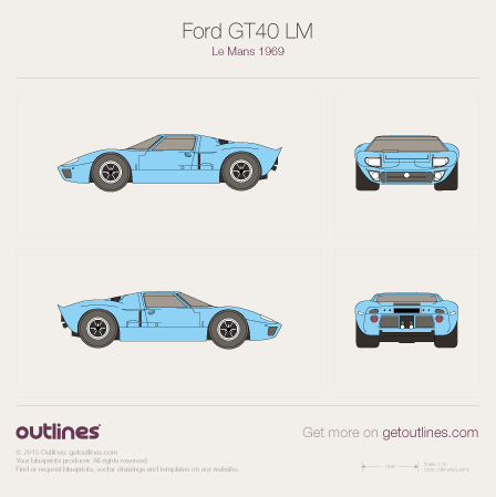 1964 - 1969 Ford GT40 Le Mans LM Coupe drawings