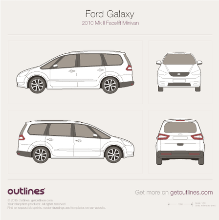 2010 Ford Galaxy II Facelift Minivan blueprint