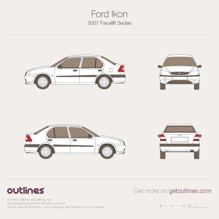 2007 Ford Ikon Facelift Sedan blueprint