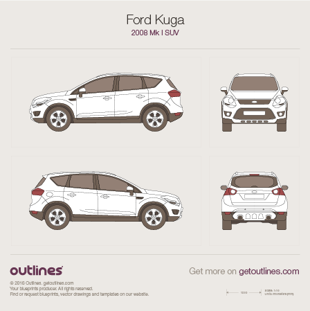 2008 Ford Kuga SUV blueprints and drawings