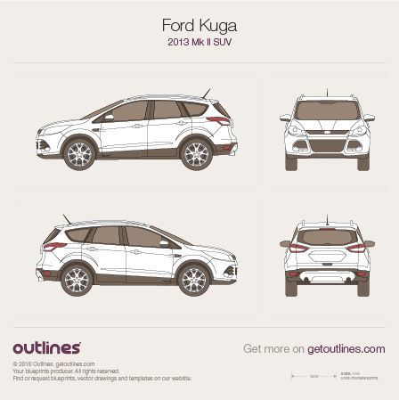 2013 Ford Kuga II SUV blueprints and drawings